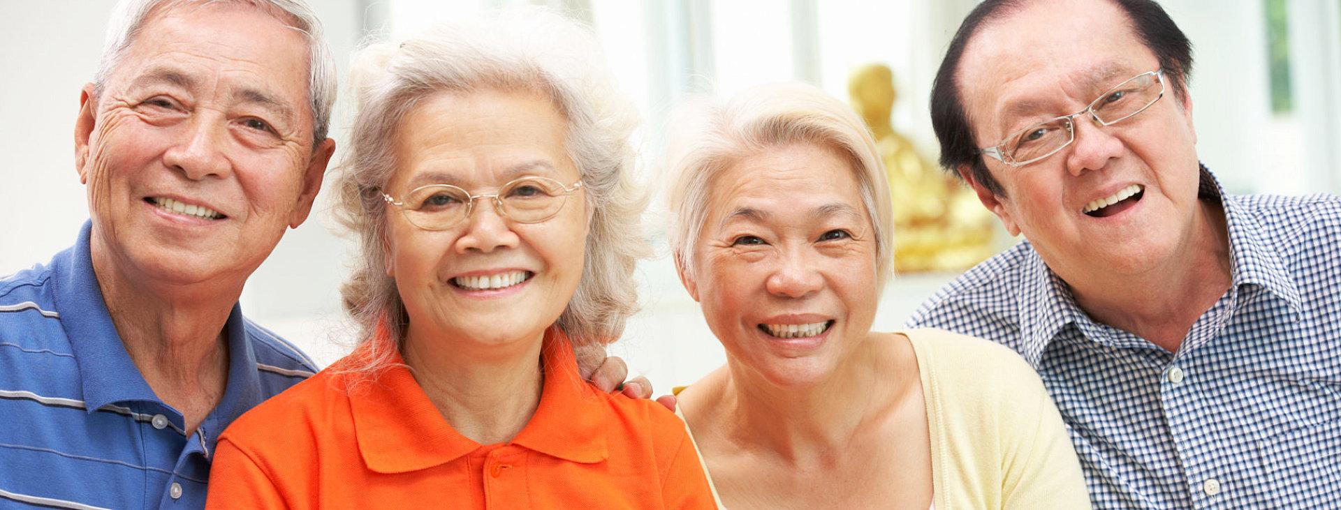 happy elderly's smiling
